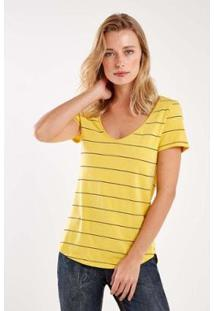 Tshirt Malha Listras Decote V Sacada Feminina - Feminino-Amarelo
