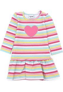 Vestido Fakini Infantil Coração Rosa