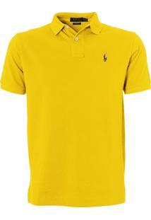 Polo Ralph Lauren Masculina Custom Fit Coloured Logo Amarela