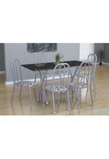 Conjunto De Mesa Miame Com 6 Cadeiras Madri Branco Prata E Branco Floral
