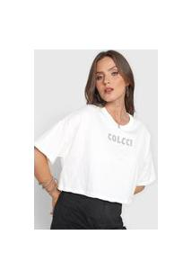 Camiseta Cropped Colcci Aplicações Off-White