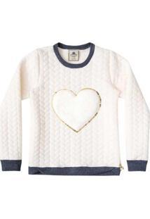 Casaco Infantil Blusão Jacquard Coração Feminino - Feminino-Branco