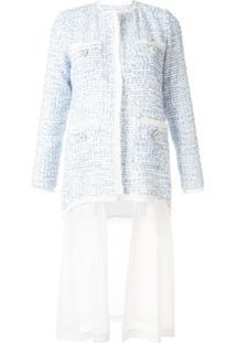 Edward Achour Paris Jaqueta De Tweed Com Botões De Flor - Azul