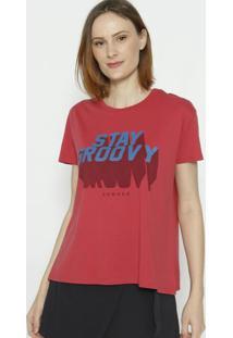 """Camiseta """"Stay Groovy""""- Vermelho Escuro & Azul- Sommsommer"""