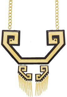 Colar Le Diamond Noveau Acrilico - Dourado - Feminino - Dafiti