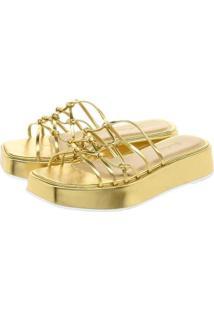 Sandália Plataforma Lallu Tiras Finas Tamanco Feminina - Feminino-Dourado