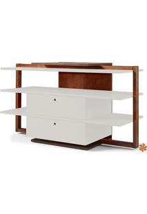 Rack Tv Com Prateleiras E 2 Gavetas De Madeira Laqueada Colorido Moderno Easy 871-0282 - 130X43X79Cm
