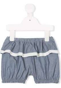 Moncler Kids Shorts Com Acabamento Franzido - Azul