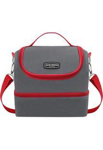 Bolsa Térmica- Cinza Escuro & Vermelha- 23X21X15Cm