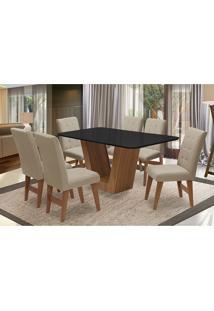 Conjunto De Mesa Para Sala De Jantar Com 6 Cadeira Veneza-Dobue - Cedro / Preto / Bege Vlp