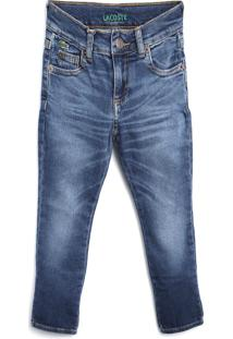 Calça Jeans Jeans Lacoste Kids Menino Liso Azul