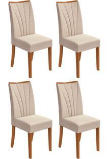Conjunto Com 4 Cadeiras Apogeu Lll Rovere E Bege