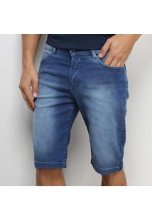Bermuda Jeans Aleatory Elastano Masculina - Masculino-Azul
