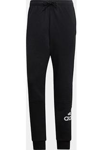 Calça Moletom Afunilada Adidas Masculina - Masculino-Preto+Branco