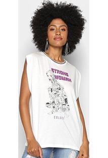 Camiseta Colcci Estampada Feminina - Feminino-Areia