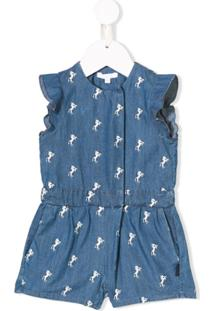 Chloé Kids Embroidered Denim Shorties - Azul