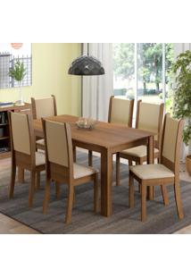 Conjunto Sala De Jantar Madesa Melissa Mesa Tampo De Madeira Com 6 Cadeiras Marrom - Marrom - Dafiti