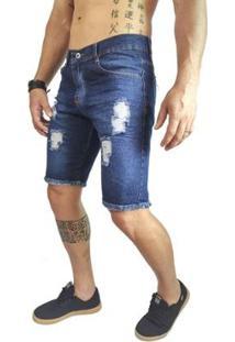 Bermuda Jeans Masculina Rasgado Destroyer - Masculino