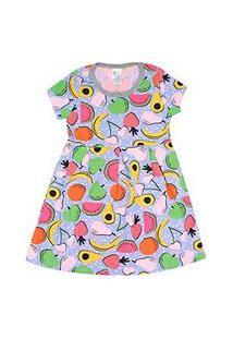 Vestido Infantil Manga Curta Cotton Azul Frutas (4/6/8) - Kappes - Tamanho 8 - Azul