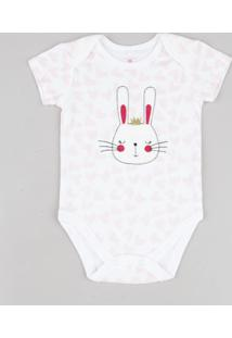 Body Infantil Coelha Estampado De Corações Manga Curta Off White