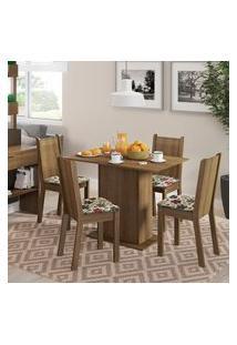 Conjunto Sala De Jantar Lexy Madesa Mesa Tampo De Madeira Com 4 Cadeiras Rustic/Floral Hibiscos