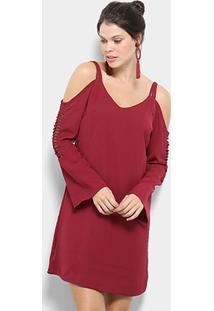 Vestido Holin Stone Evasê Curto Social Inverno - Feminino-Vinho