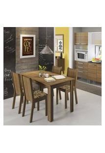 Conjunto Sala De Jantar Rosie Madesa Mesa Tampo De Madeira Com 4 Cadeiras Rustic/Floral Bege Marrom