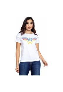 Camiseta Sideway Mulher Maravilha Logo Neon - Branca