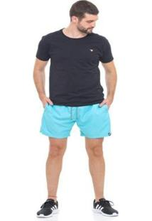 Bermuda De Praia Tactel D'Affari Masculina - Masculino-Azul Claro