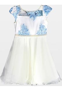 Vestido Cacau Kids Bordado Elegance Azul