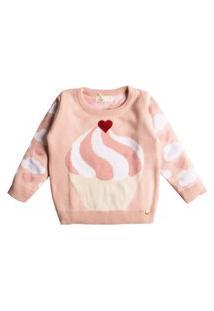 Casaco Suéter Tricô Mini Lady Cupcake Rosa