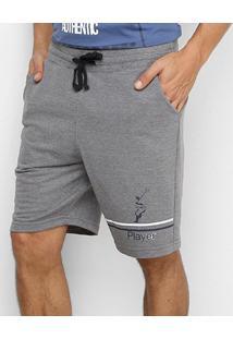 Bermuda Moletom Polo In Masculina - Masculino-Mescla Escuro