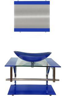 Gabinete De Vidro Para Banheiro Sérvia Azul Escuro Ekasa