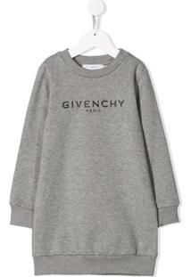 Givenchy Kids Vestido Suéter Com Logo - Cinza