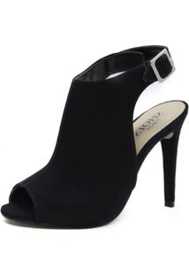 Sandália Sandal Boot Shoes Inbox Salto Fino - Feminino-Preto