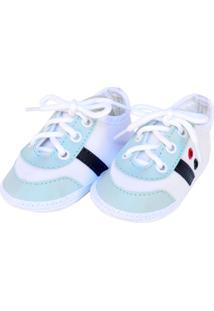 Tênis Moderno Sapatinhos Baby Azul-Bebê E Branca
