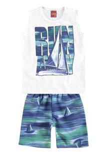 10f400b01d Conjunto Infantil - Masculino - Regata E Bermuda - Branco E Azul - Wild  Surfer -