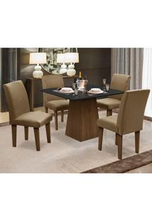 Conjunto De Mesa Para Sala De Jantar Com 4 Cadeira Florença Fit - Dobue - Castanho / Preto / Castor