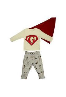Conjunto De Pijama Longo Super Herói Grow Up Multicolorido