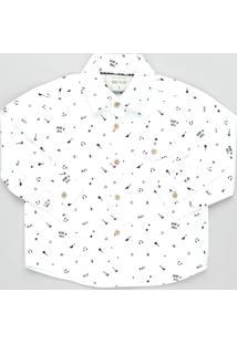 Camisa Infantil Estampada Rock N' Roll Com Bolso Manga Longa Off White