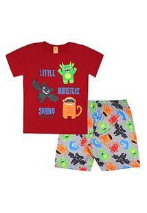 Pijama Infantil Masculino Curto Meia Malha Vermelho E Cinza Monstrinhos (4/6/8) - Gueda Kids - Tamanho 8 - Vermelho,Cinza