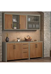 Cozinha Compacta Camponesa 6 Pt 3 Gv Freijó E Cinza