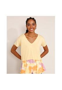 Camiseta Feminina Básica Cropped Manga Curta Decote V Amarela