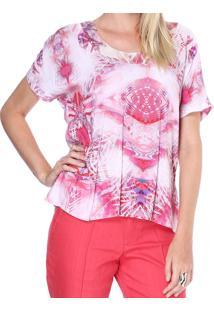 Blusa Energia Fashion Decote Arredondado Rosa