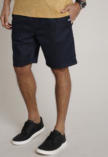 Bermuda Masculina Reta Com Cordão E Bolsos Azul Marinho