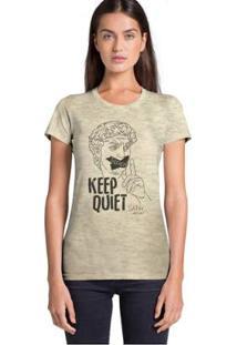Camiseta Joss Keep Quiet Feminina - Feminino-Bege