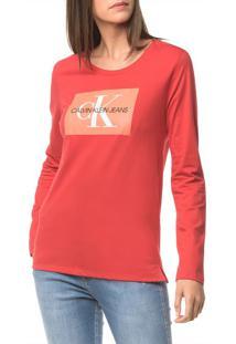 Blusa Ckj Fem Ml Logo - Vermelho - Pp