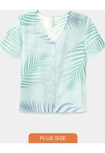 Camisa Plus Size Rayon Azul
