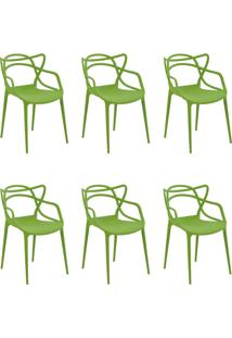 Kit 6 Cadeiras Decorativas Sala E Cozinha Feliti (Pp) Verde - Gran Belo - Verde - Dafiti