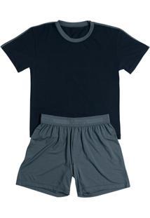 Pijama Infantil Mash Masculino - Masculino-Marinho+Chumbo